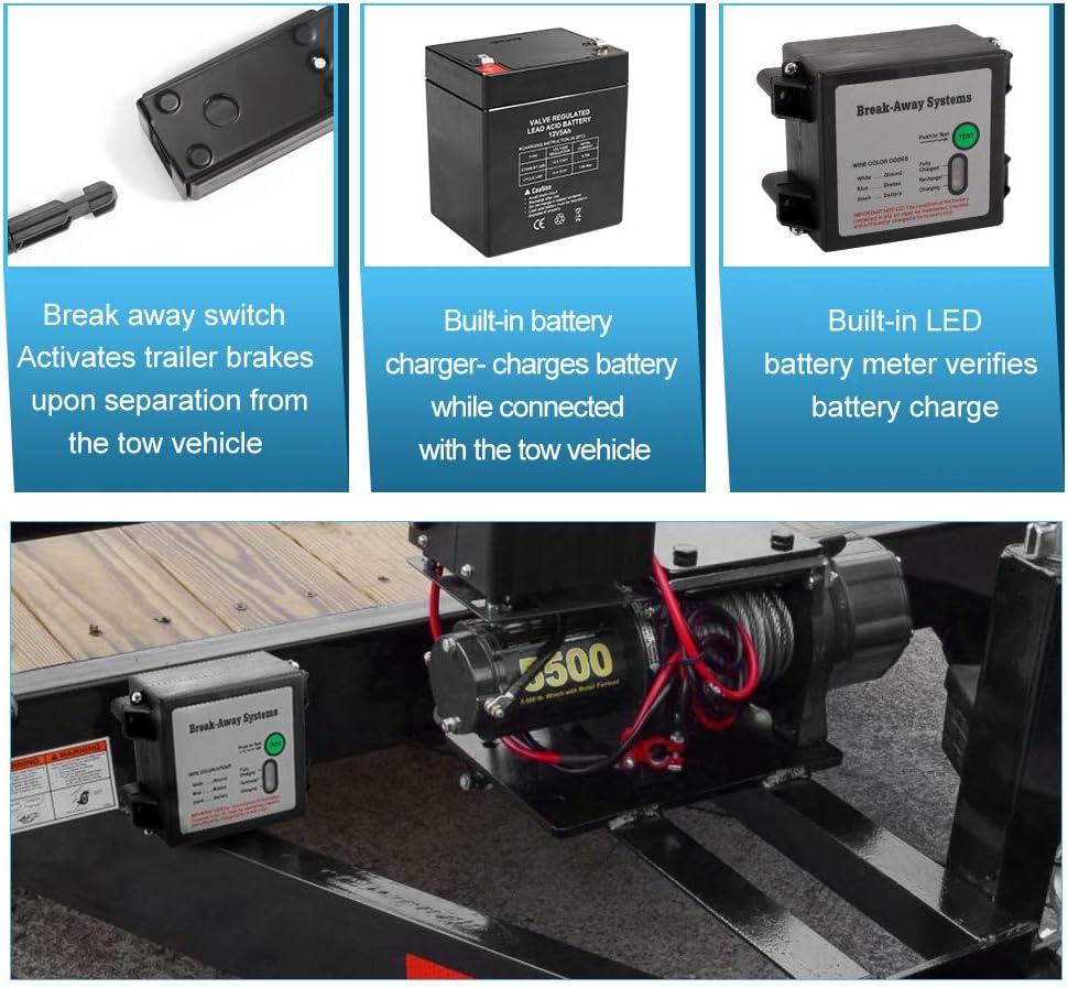 LED Indicator BUNKER INDUST Trailer Brakes Breakaway Kit with Charger Switch 12V 5AH Battery for Trailer Caravan