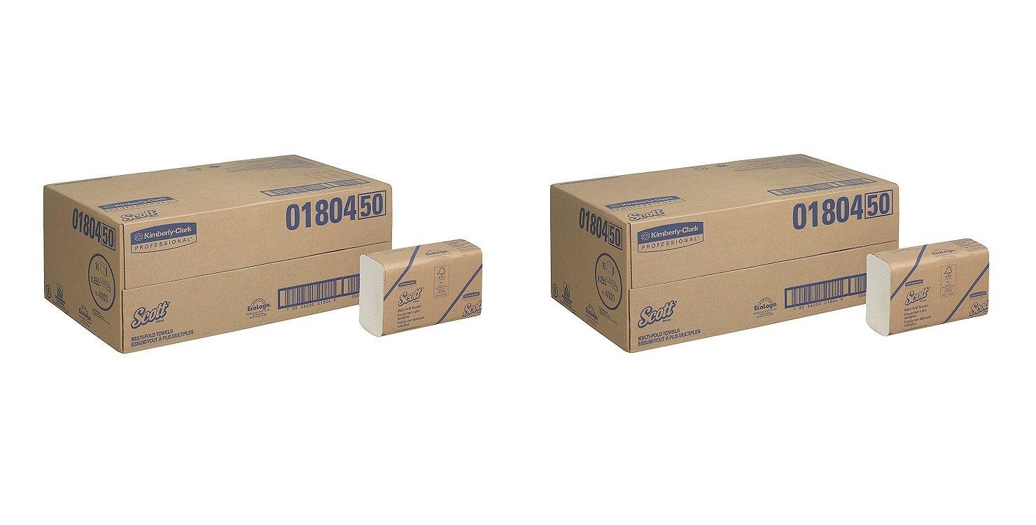 スコットMultifold Paper Towels ( 01804 ) with速乾性吸収性ポケット、ホワイト、16パック/ケース、250 Multifoldタオル/パック 2 CASES B07957VB1K  2 CASES