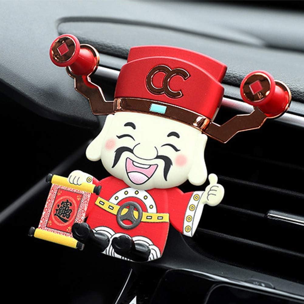Grebest Car Phone Holder Interior Decoration Phone Holder Luminous God of Wealth Car Air Vent Mount Gravity Phone Stand Cradle Holder Red