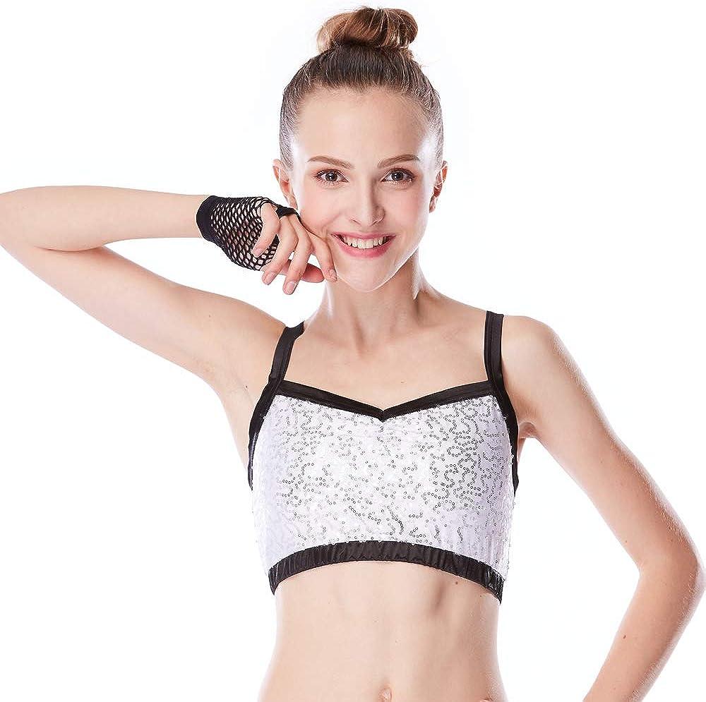 MiDee Dance Bras Top with Sequins Performance Black Trim