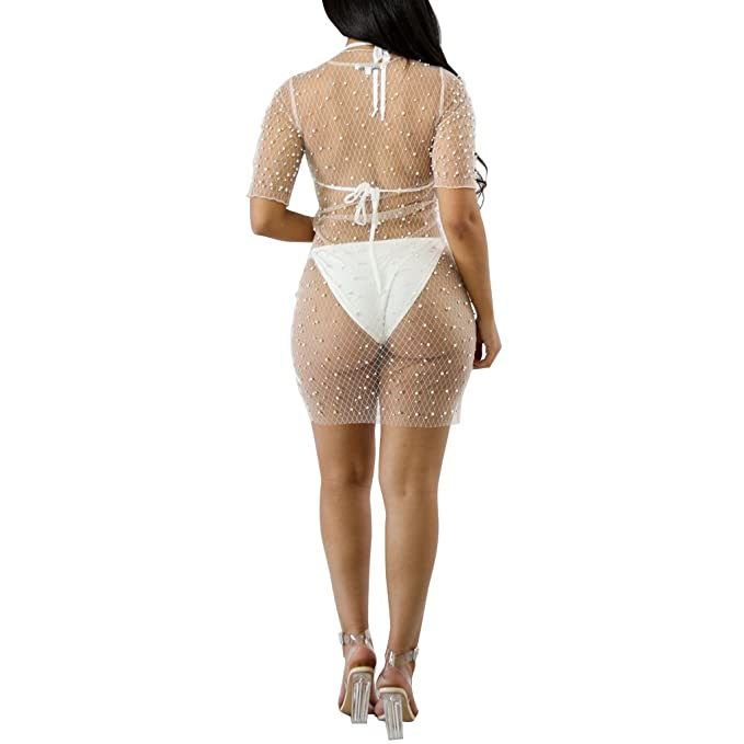 5c6af88ff2 Kafiloe Women Sexy Beading Pearl Mesh See Through Cover up Short T-Shirt  Mini Dress Clubwear at Amazon Women's Clothing store:
