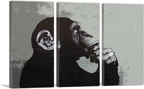 ARTCANVAS The Thinker Monkey Canvas Art Print
