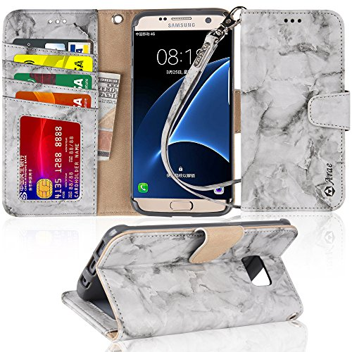 Galaxy s7 Edge Case, Arae Gray Marble Design [Wrist Strap] Flip Folio [Kickstand Feature] PU Leather Wallet case with ID&Credit Card Pockets for Samsung Galaxy S7 Edge (not for Galaxy S7)