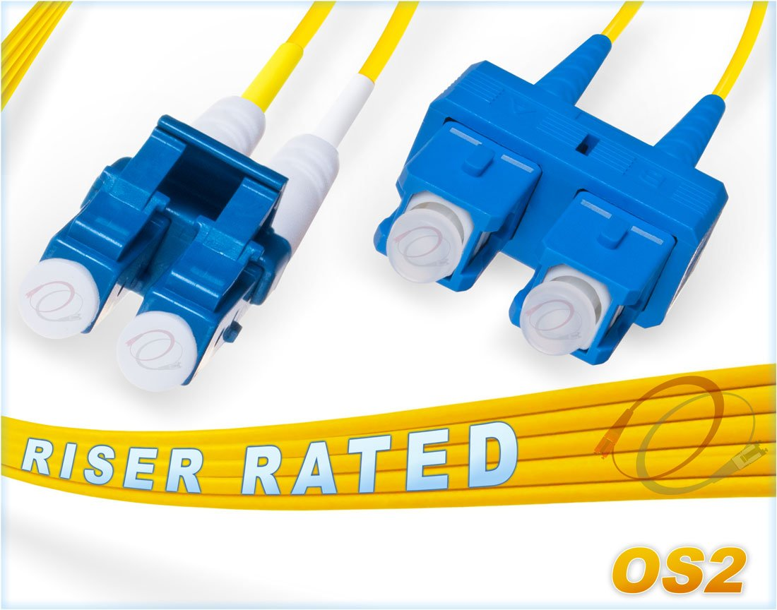 5M OS2 LC SC Fiber Patch Cable | Duplex 9/125 LC to SC Singlemode Jumper 5 Meter (16.40ft) | Length Options: 0.5M-300M | FiberCablesDirect | ofnr lc-sc single-mode patch cables sc/lc smf dup yellow