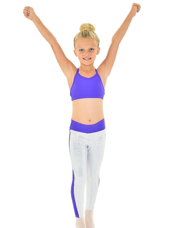 Big Girls Purple Silver Foil Side Stripe CELESTE Dancewear Leggings 7-14
