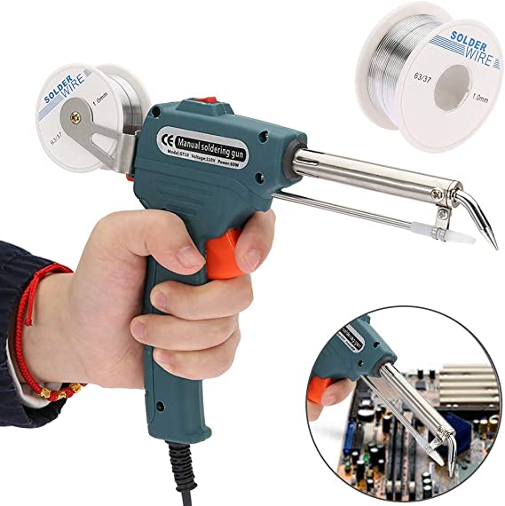Details about  /110V Manual Soldering Gun Electric Iron Automatic Soldering Machine Kit Tool