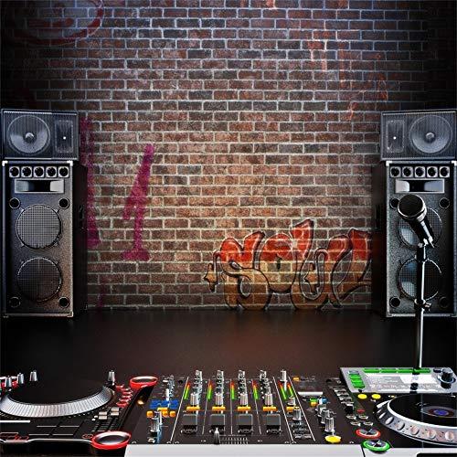 (AOFOTO 6x6ft Vinyl Photography Backdrop Singing Hall Club Brick Wall Sound Microphone DJ Mixer Background Singer Portraits Shotting Video Displays TV Film Production Photo Studio Prop)