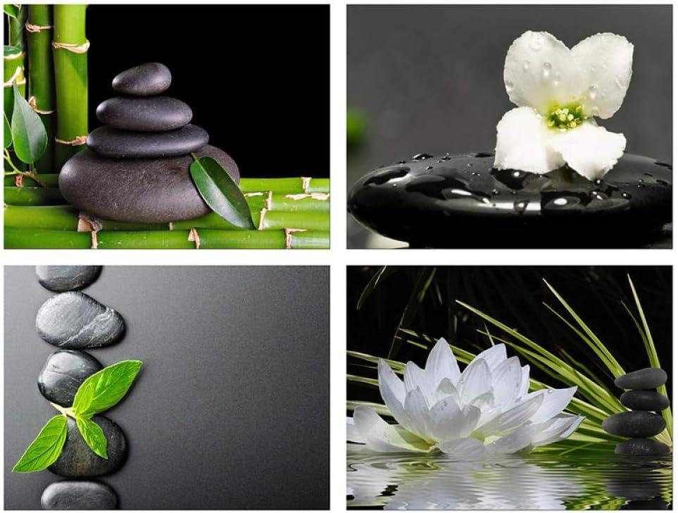 ZLARGEW 4 Piezas de Pintura Decorativa para el hogar póster Zen Lienzo Arte de Pared Piedra Negra Loto Blanco y orquídea Impreso con bambú Verde 30x40cmx4 sin Marco