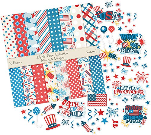 - July 4th Set | Matching Die Cuts & Paper Kit by Miss Kate Cuttables | 16 Single - Sided 12