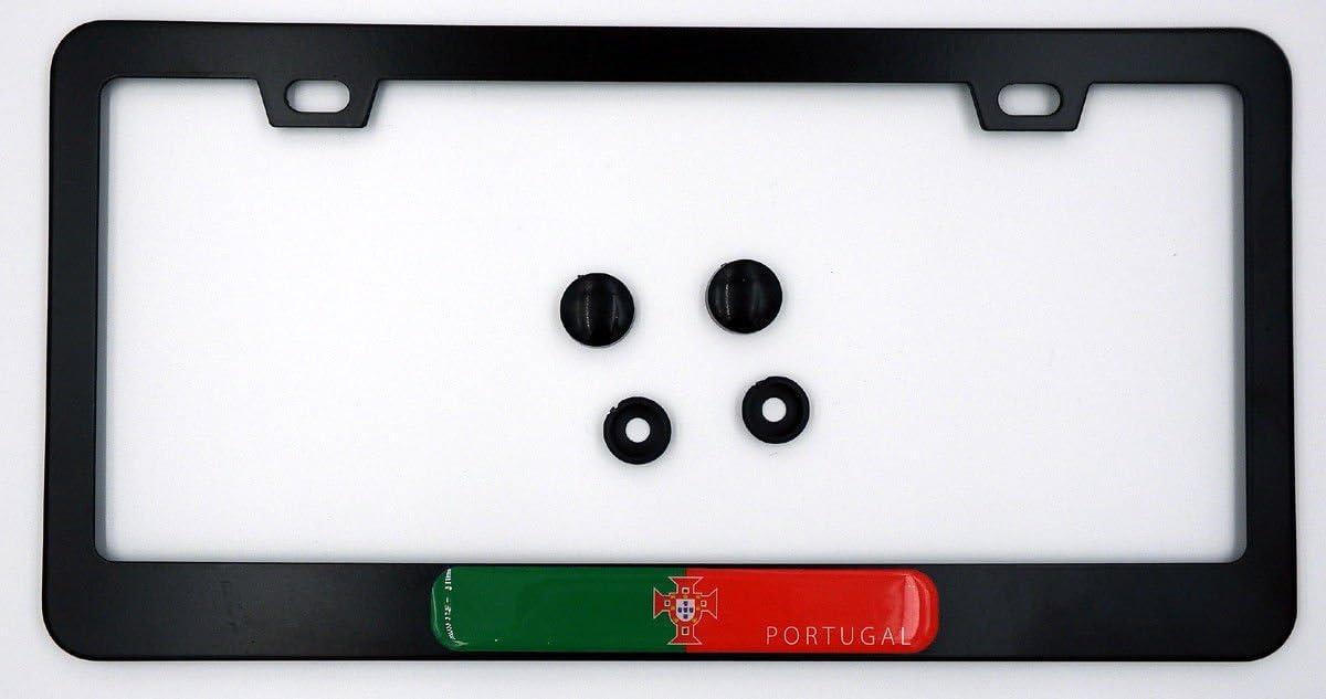 Portugal Flag Metal Black Aluminium Car License Plate Frame Holder