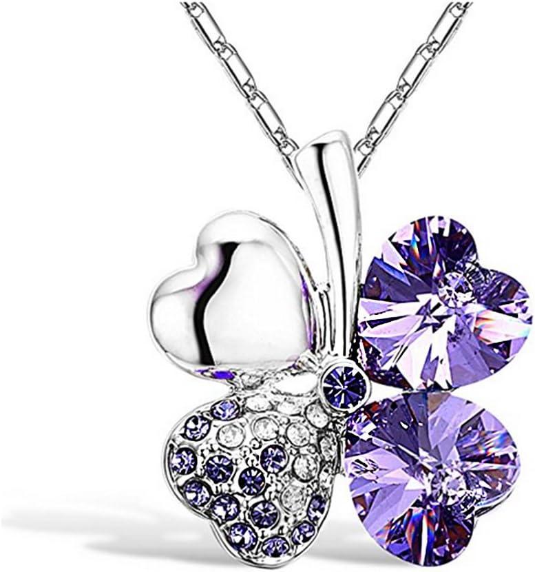 Hosaire Collar trébol a 4 Hojas Collar con Colgante de trébol de Cuatro Hojas en Forma de corazón con Cristales S+,Cadena de 50 cm con Extensor de 12 cm