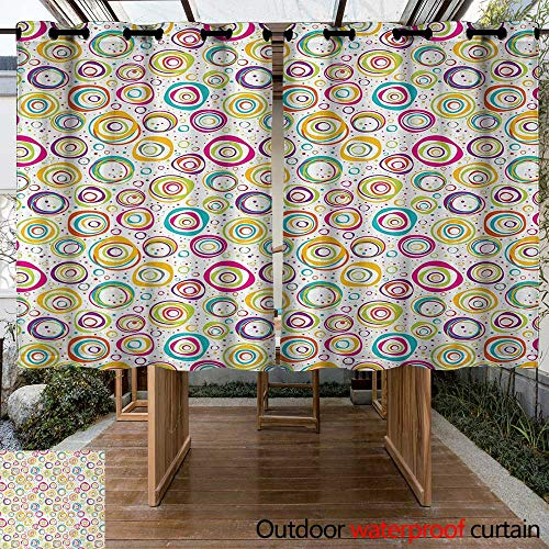 (Onefzc Indoor/Outdoor Curtains Abstract Pattern with Circles and Dots Bubble Rings Spotted Springtime Enjoyment Theme Waterproof Patio Door Panel 84