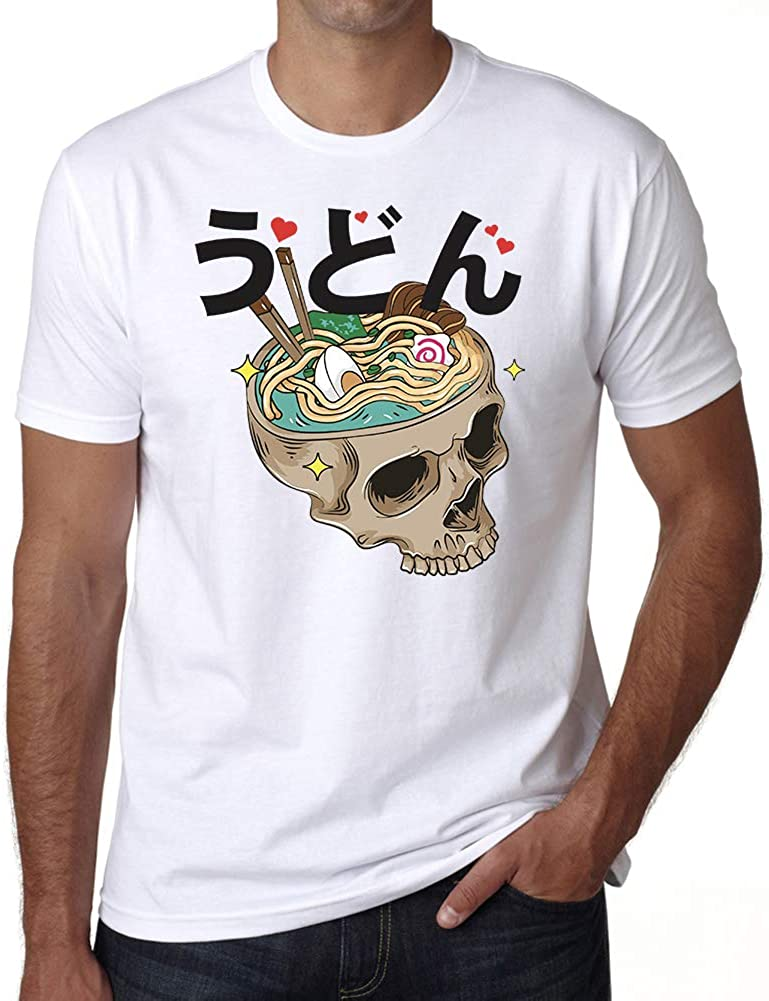 Ultrabasic Men's Graphic T-Shirt Chinese Food Skull Shirt - Funny Halloween Tee
