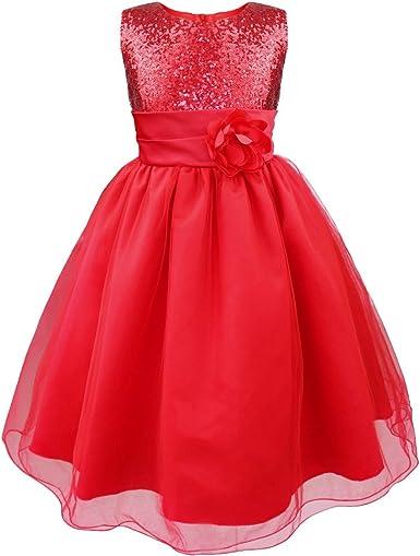 iEFiEL Infant Baby Girls Ruffled Flower Dress Wedding Pageant Borthday Party Rhinestone Tutu Dress Ball Gown