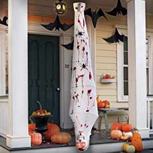 Halloween Decorations 72 Inch Hanging Cocoon Corpses Props, Red Glowing Eyes and Voice Activated, Spooky Scary Skeleton Body for Window Wall and Outdoor Indoor Yard Patio House Decor