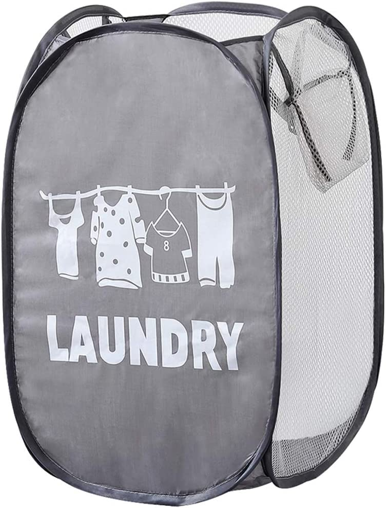 Jkhome Square Pop Up Laundry Mesh Hamper Collapsible Dirty Clothes Sorter Basket Bag Home, Foldable, Mesh, Durable Handles, Holds 2 Loads (1, Grey)