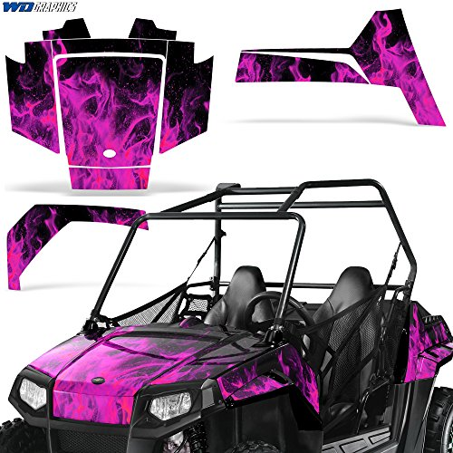 Polaris RZR170 UTV Graphic Kit Decal Sticker SxS Sticker Kids RZR 170 FLAMES PINK (170 Polaris Graphic Kits)