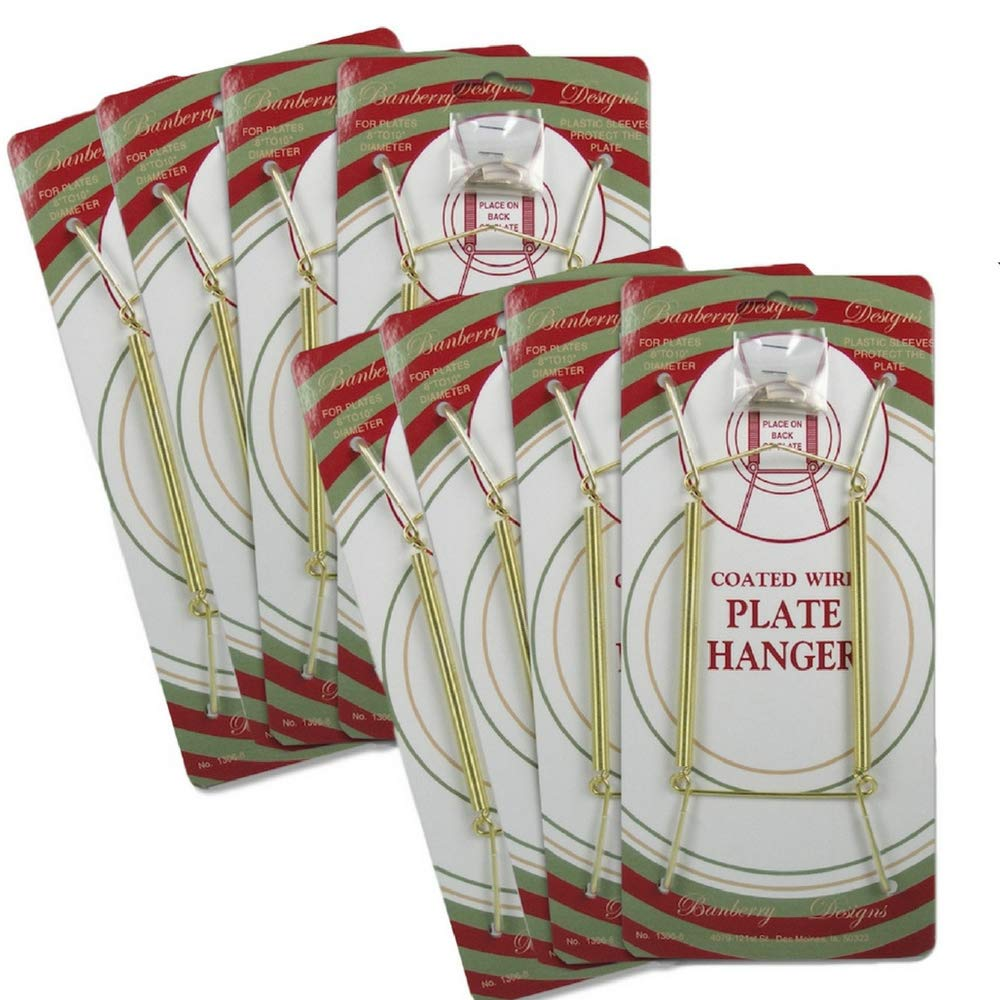 Banberry Designs Brass Vinyl Coated Plate Hanger 8 to 10 inch - Set of 8 Pcs - Clear Vinyl Sleeves Protect The Plate - Hook and Nail Included