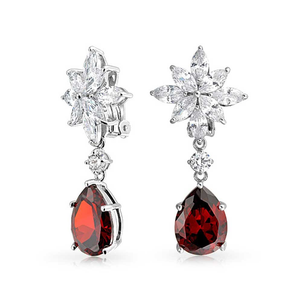 Bling Jewelry Marquise CZ Clip On Earrings Red Simulated Garnet Drop Rhodium Plated OA-21OLA2350