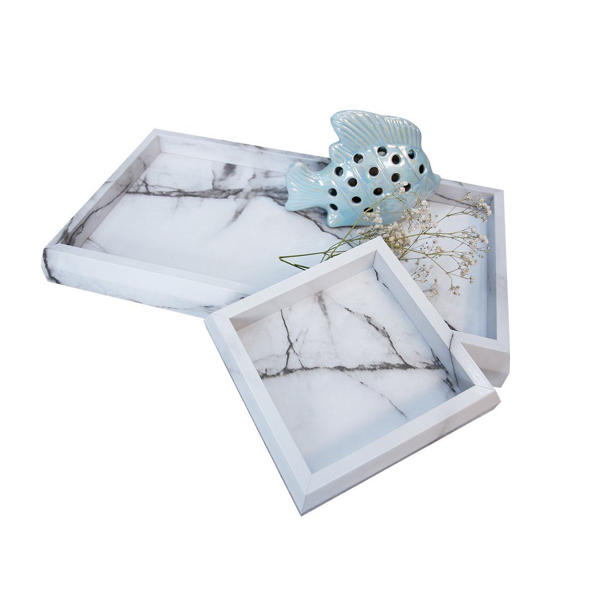 Roomfitters Marble Print Vanity Tray Set, Best Bathroom Catchall Trays for Jewelry Perfume, Upgraded Version Water Resistant, Anti-Scratch by Roomfitters (Image #5)