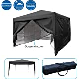 Quictent Privacy Mesh Curtain 10'x10' Black EZ Pop Up Party Tent Canopy Gazebo photo booth Waterproof