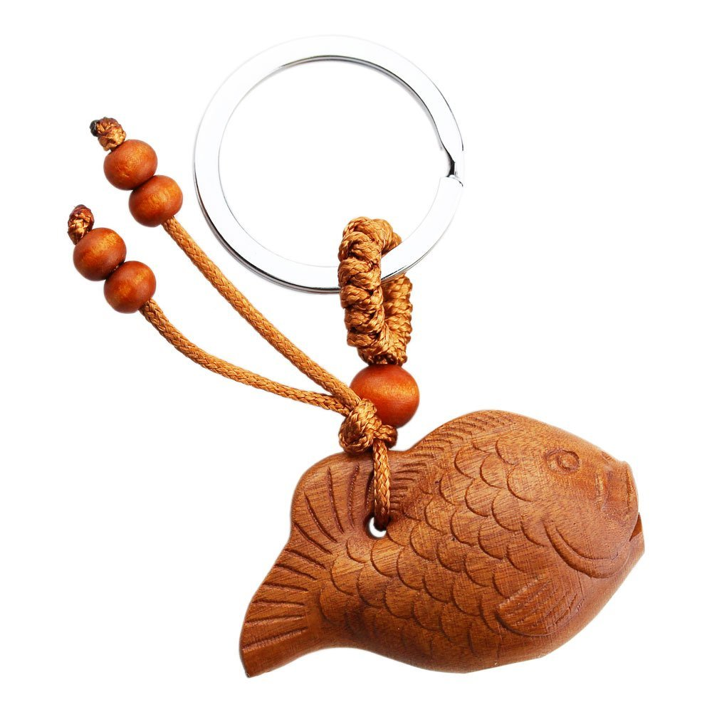 FOY-MALL Fish Jujube Wood Carved Men Women Car/Bag Key Chain for Gift M1172