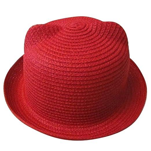 Moollyfox Sombrero de Playa Gorra Paja Verano Oreja De Gato para Niño Niña   Amazon.es  Deportes y aire libre a585acd3265
