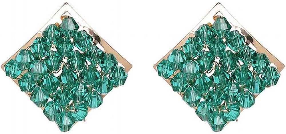 Yiiana Pendientes de moda para las mujeres Pendientes de gota Pendientes de joyería Pendientes cuadrados con pendientes de diamantes