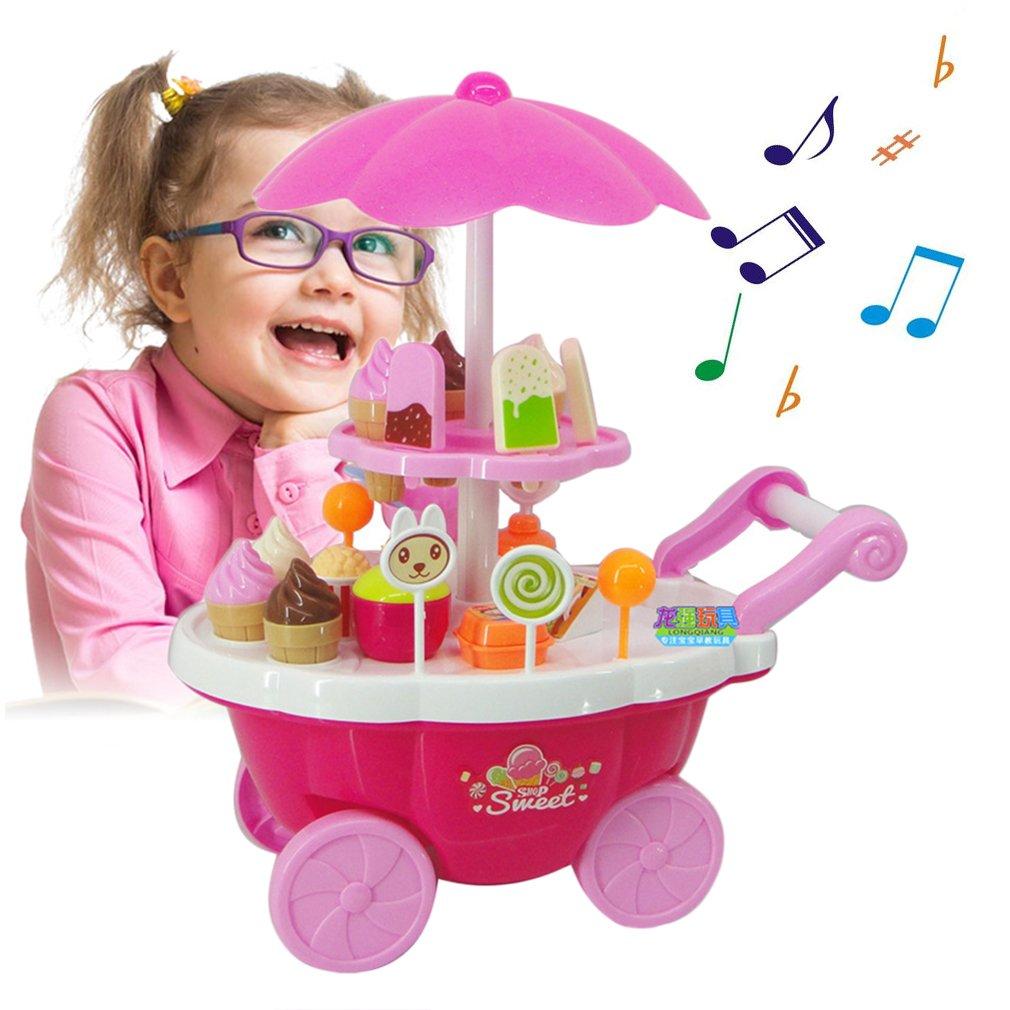 Simulation Kleine Wagen Mä dchen Sü ß igkeiten Warenkorb EIS Supermarkt Supermarkt Trolley Auto Kinder Spielzeug mit Licht Musik zu Hause Spielen Spielzeug, rosa FairytaleMM