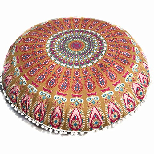 8080 Chair - Kintaz 8080cm Puff Blue Mandala Floor Pillow Cushion Seating Throw Cover Hippie Decorative Boho (B)
