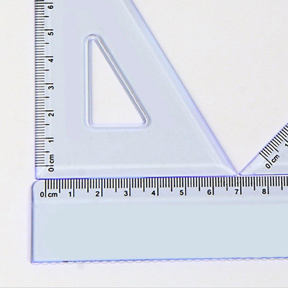 Chytaii Kit de R/ègle Gradu/ée Droite Equerre /à Dessiner Rapporteur dAngle 180/° Ecolier Tailleur en Plastique Transparent 10//15 cm