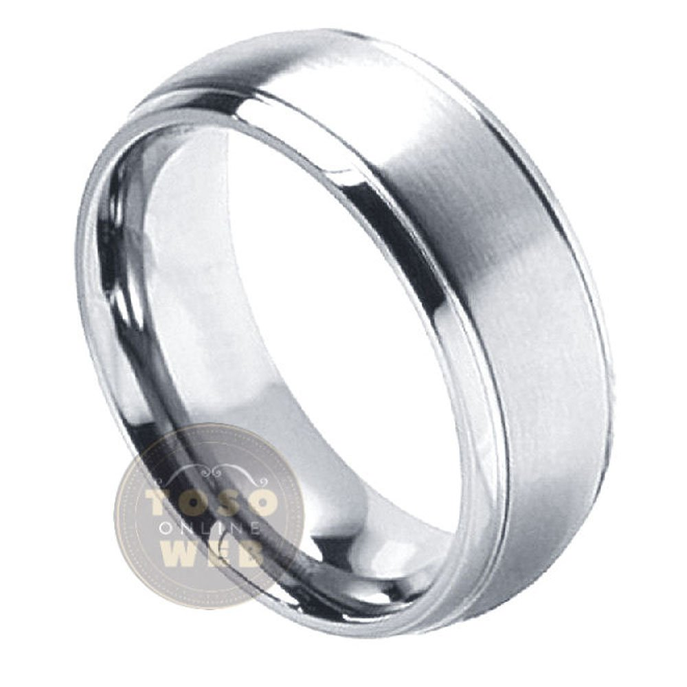 Men's 8mm Dome Stepped Edge Polished Titanium Wedding Band w/ Satin Finished Center Comfort Fit Anniversary Ring Ti2612 - FREE ENGRAVING - s11