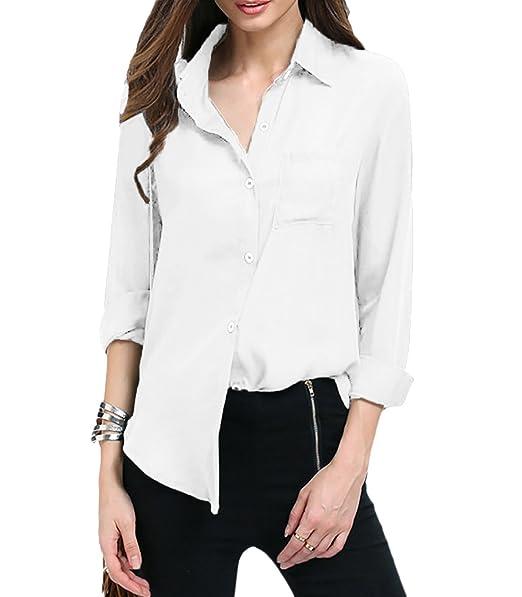 Camicia Donna Manica Lunga Chiffon Shirt Top con Tasca (Blanco, S)