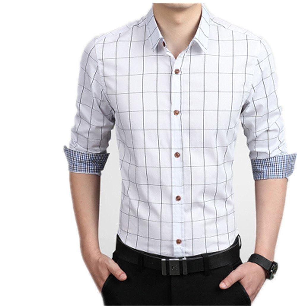MenS Shirts Male Casual Brand Slim Fit Designer Striped Plaid Shirts