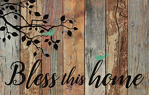 Bless This Home Birds Design Distressed 25 x 16 Inch Solid Pine Wood Pallet Wall Plaque Sign
