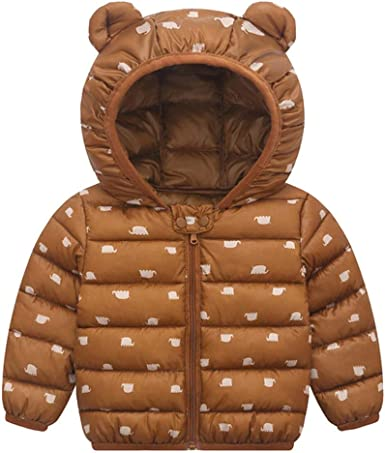 Baby Boys Girls Hooded Coat Winter Outfit Lightweight Warm Coat Windproof Jacket
