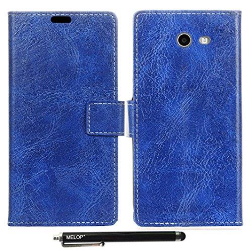 Case for Galaxy J7 2017/ / J7 V / J7 Prime / J7 Perx / J7 Sky Pro/ Galaxy Halo Case, MELOP Retro PU Leather Wallet Flip Magnet Case Cover with Credit ID Cards Slots for Samsung Galaxy J7 2017 - Blue (Retro Id Credit Card)