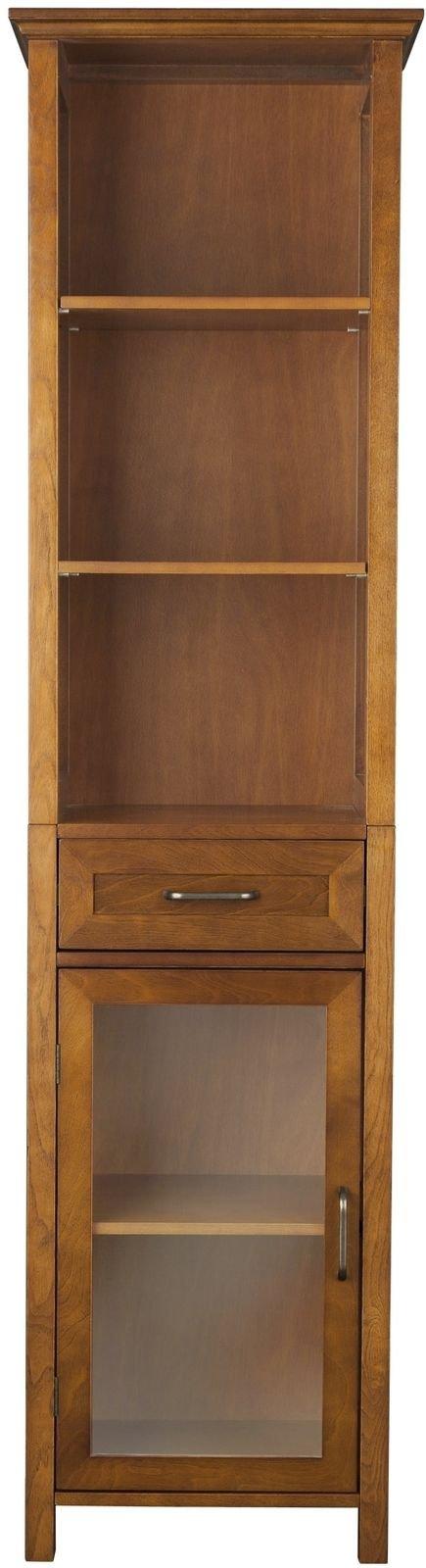 Lana45 Storage Cabinet Oak-Finish Linen Tower Storage Showcase Cabinet Wooden Home Furnishings