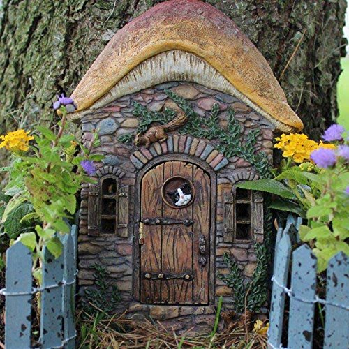 Tree Yard Designs (Fairy Garden Door that Opens Mushroom Design with Cat and Squirrel for Miniature Fairy Gardens, Tree Stump, Kids Rooms)