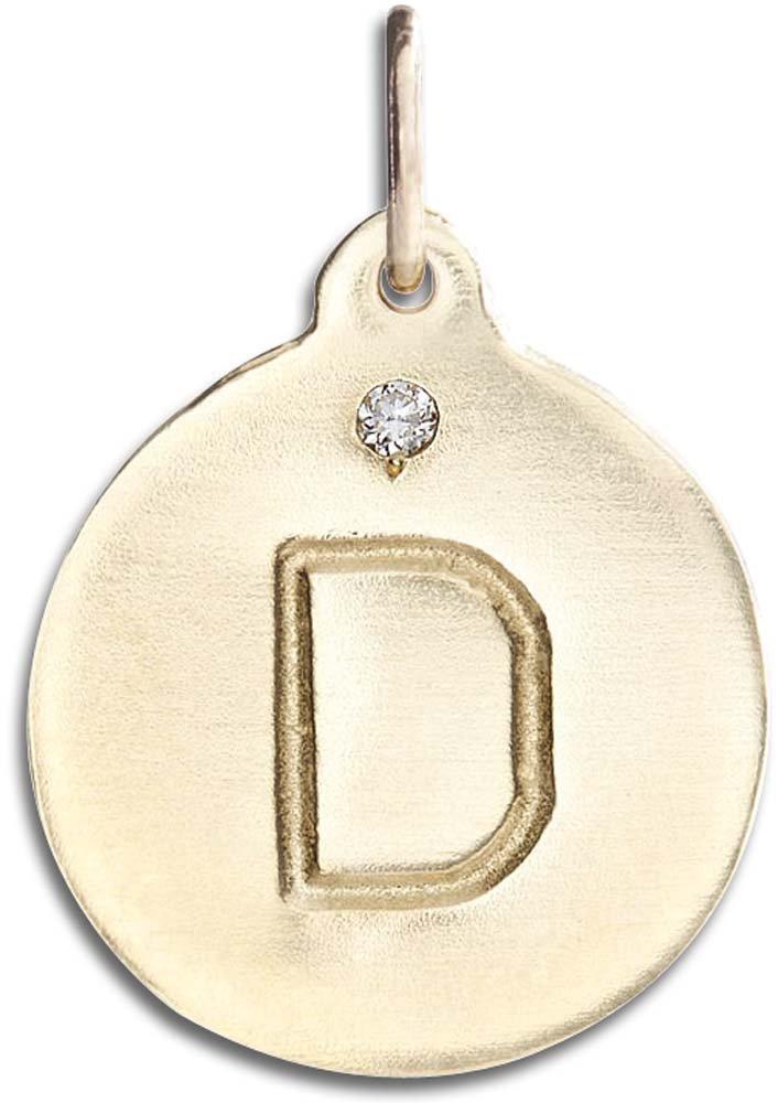 Helen Ficalora ''D Alphabet Charm with Diamond Yellow Gold