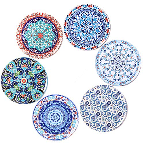 BOHORIA Premium Design Coasters (Set of 6) - Decorative Coasters for Glass, Cups, Vases, Candles on Dining Table made of Wood, Glass or Stone (Round | 9cm) (Tile Edition)