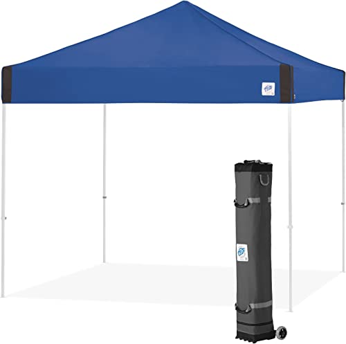 E-Z UP Pyramid Instant Shelter PR3WH10RB 10 by 10 Royal Blue Portable Popup Tent W Upgraded Wide-Trax Roller Bag 100 Sqft of Shade Sun Protection Cathedral Ceiling To Increased Headroom
