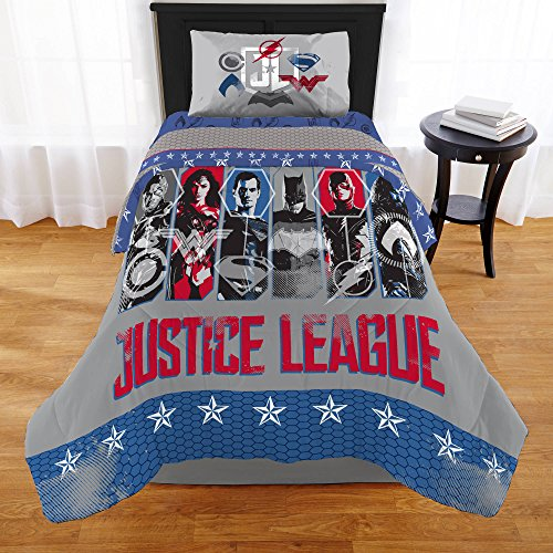 N2 1 Piece Kids Blue White Red Justice League Comforter Twin, Superhero Themed Bedding Superman Wonder Woman Batman Flash Green Latern Comic Movie Themed, Reversible Stars Polyester by N2
