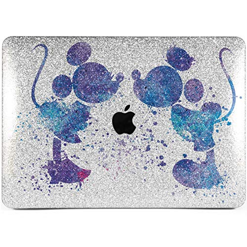 Lex Altern Glitter MacBook Case Pro 15 inch 2018 Air 13 12 11 Disney Mickey Mouse A1706 A1989 2017 Retina Silver Rhinestone Cartoon Sparkly Crystal Hard Cover Blue Purple Laptop Protective Girls Gift