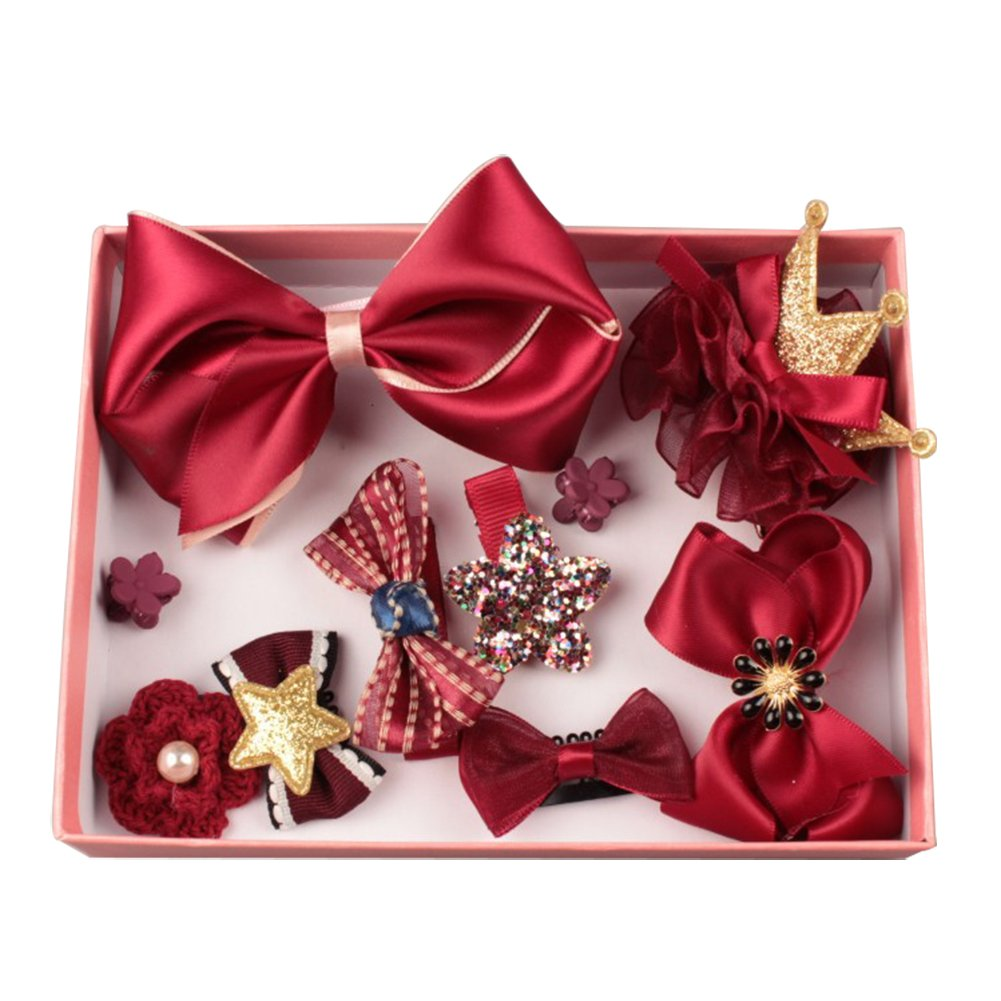 Bluelans® 10 Pcs Girl Bow Hairpin Ribbon Bow Flower Multi-Style Hair Clip Xmas Birthday Gift (Wine Red)