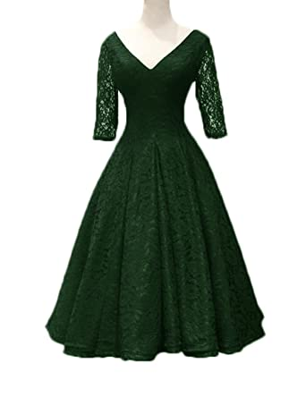 7eb7c96c347 Lace Ball Gown Half Sleeves Evening Gowns Tea Length Vintage Wedding Dresses  Dark Green Size 2