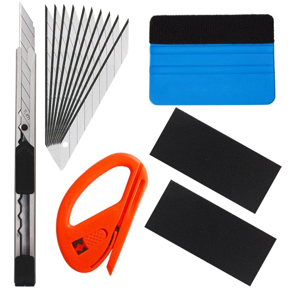 EEFUN 6 in 1 Kit de herramientas de instalació n 3 en 1 para ventana de automó vil Envoltura de vinilo de tinte con cuchilla de utilidad, cortador de seguridad Snitty, enjugador de PP.
