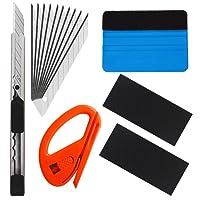 EEFUN 6 in 1 High-End-Werkzeugset für Autofolie / Tönungsfolie / Sonnenschutzfolie Installation mit Faserrand Rakel, Snitty Cutter, Utility Messer