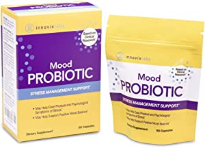 InnovixLabs Mood Probiotic with Lactobacillus helveticus Rosell-52ND and Bifidobacterium longum Rosell-175. First Probiotic Formula Clinically Studied for Mood Health. 60 Capsules.