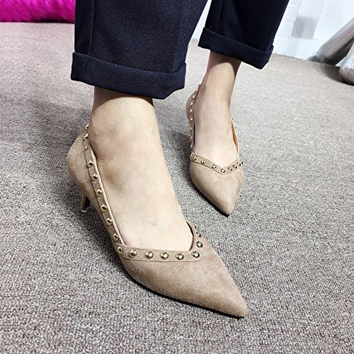 Shoes Lady 5 Rivets With Leisure MDRW Spring A Shoes Shoes 36 Work Commuter Simple Match Elegant Khaki 5Cm All Fine Pointed High Heeled Single dq1qWAZ